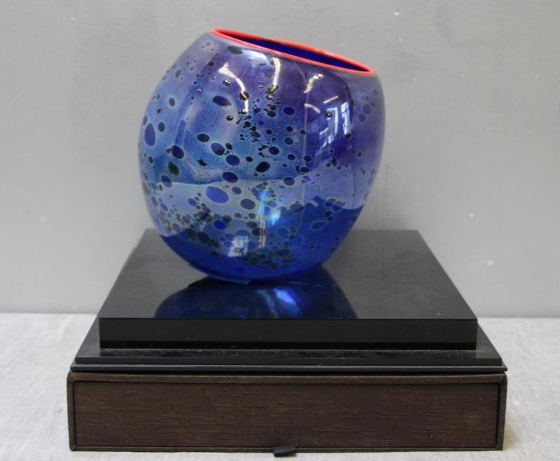 CHIHULY, Dale. 1994 Cobalt Blue Basket With