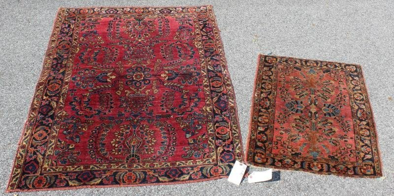 2 Finely Woven Antique Sarouk Prayer rugs