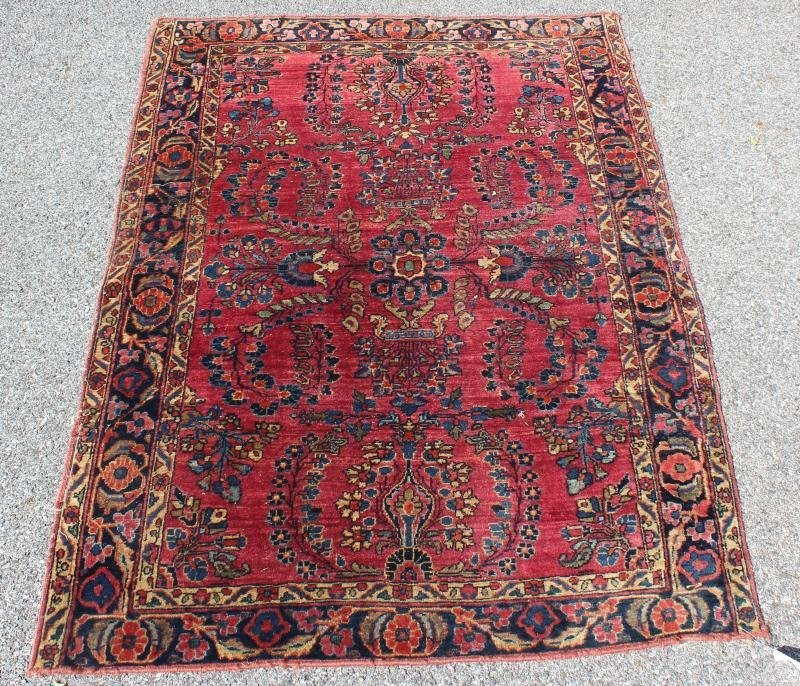 2 Finely Woven Antique Sarouk Prayer rugs - 6