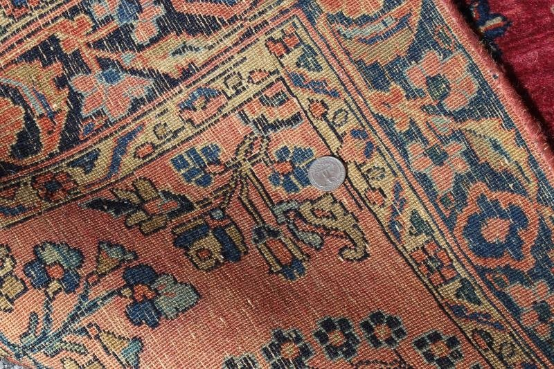 2 Finely Woven Antique Sarouk Prayer rugs - 7