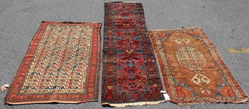 Lot Of 3 Antique Throw Rugs To Include