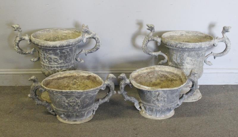 2 Pairs Of Antique Lead Urns .