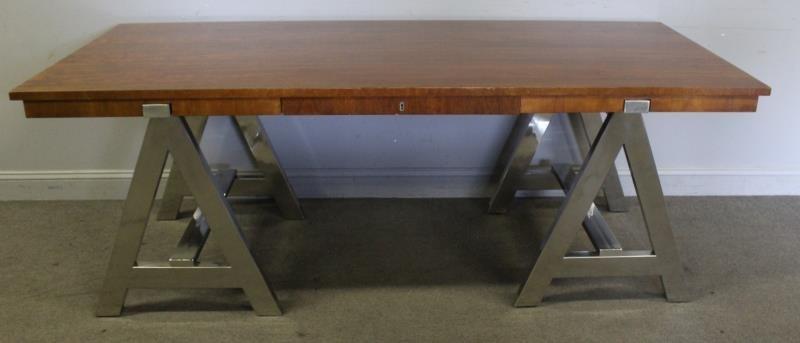 Ralph Lauren Chrome Base 1 Drawer Table.