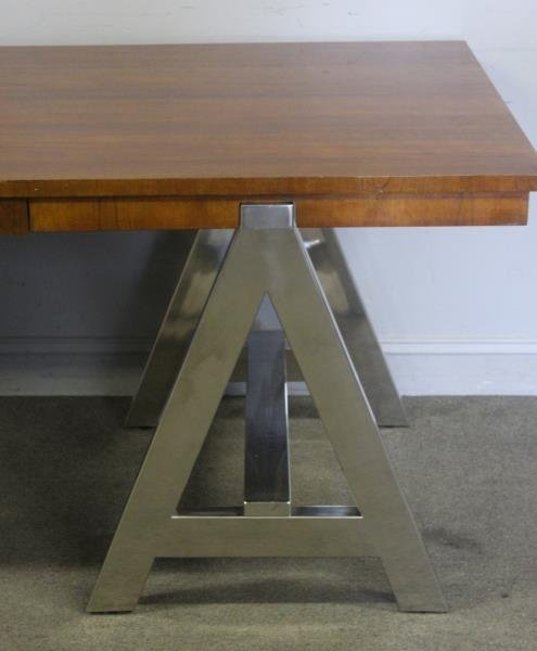 Ralph Lauren Chrome Base 1 Drawer Table. - 2