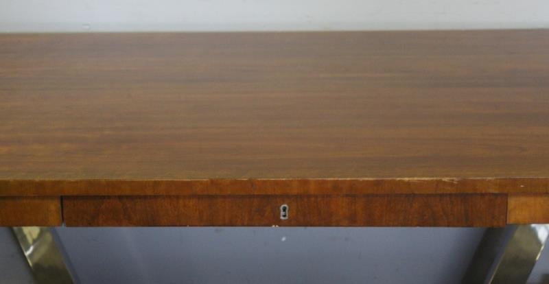 Ralph Lauren Chrome Base 1 Drawer Table. - 3