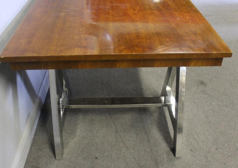 Ralph Lauren Chrome Base 1 Drawer Table. - 5