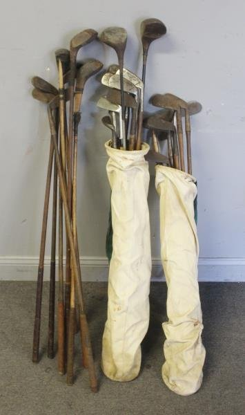 Lot Of Vintage Hickory Golf Clubs .