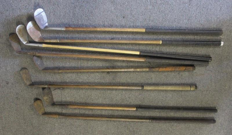 Lot Of Vintage Hickory Golf Clubs . - 5