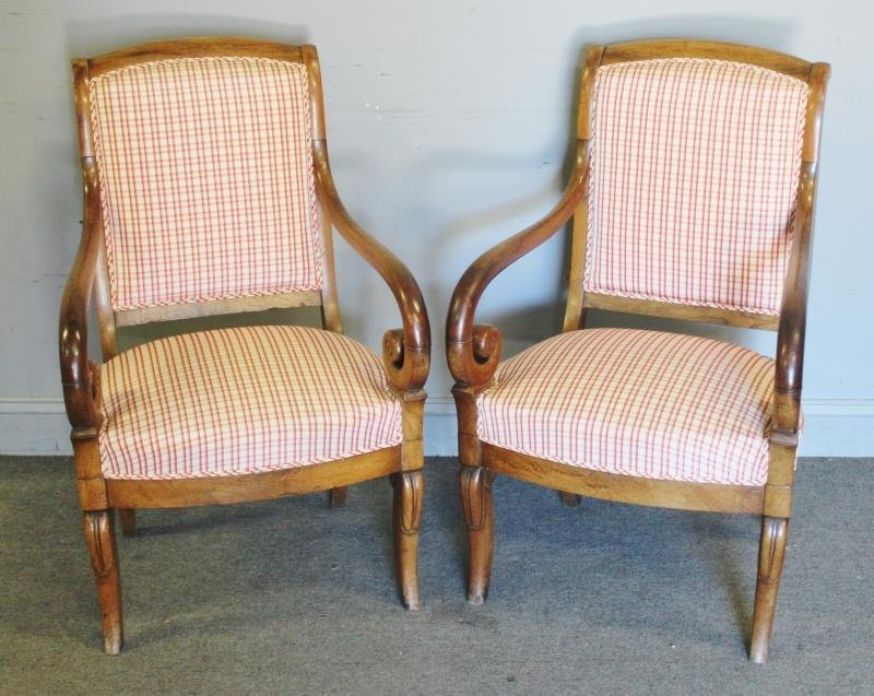 Pair Of French Empire Fruitwood Armchairs .