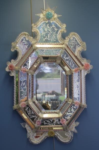 Venetian Glass Roccocco Style Mirror.