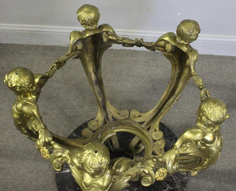 Bronze And Glass Top Figural Coffee Table - 2