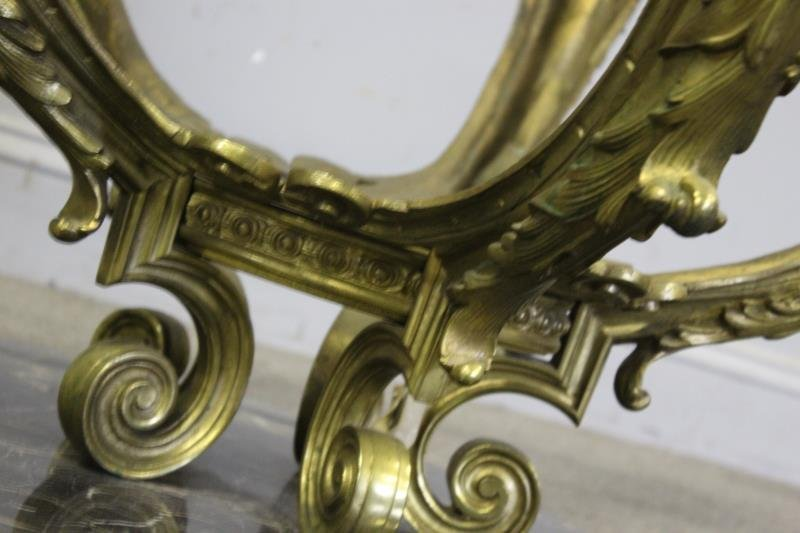 Bronze And Glass Top Figural Coffee Table - 5