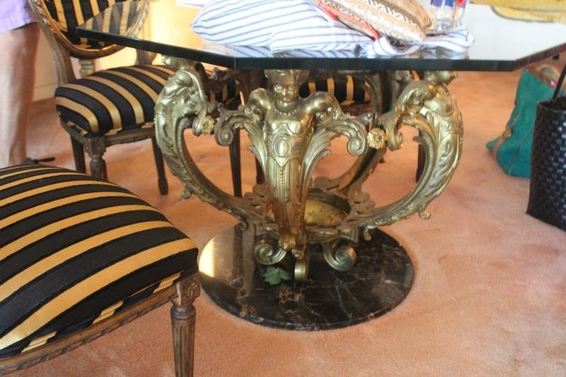 Bronze And Glass Top Figural Coffee Table - 7
