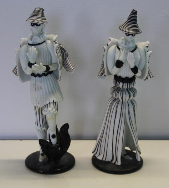 Pair of Venini Murano Glass Figures.