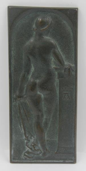Bronze Albrecht Durer Plaque of a Figure.