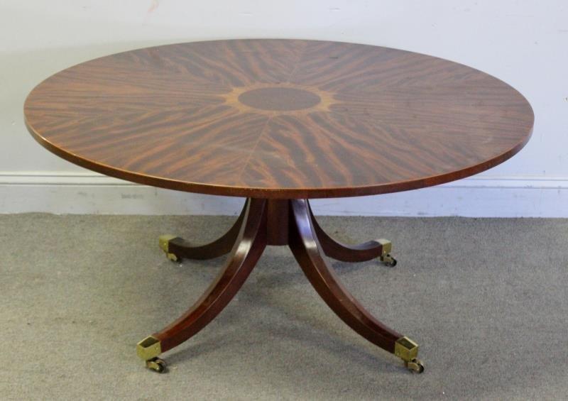 Round Mahogany Baker Coffee Table.
