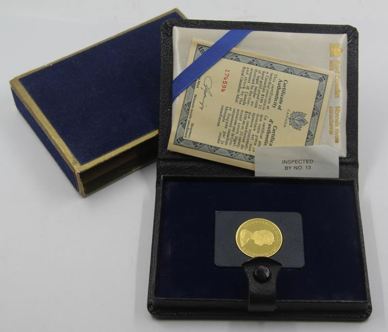 GOLD. $100 22kt 1978 Canadian Gold Coin.