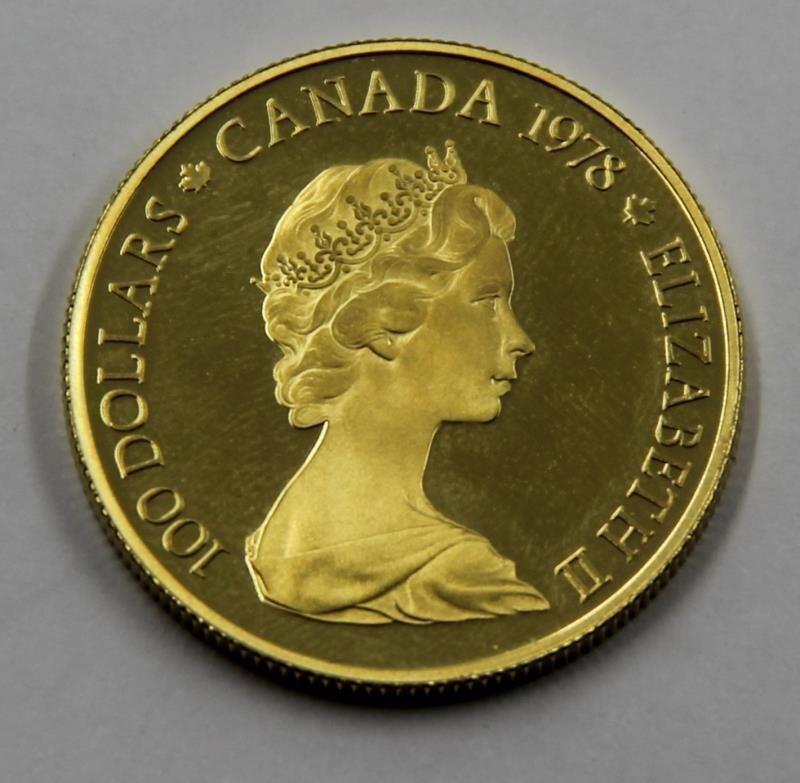 GOLD. $100 22kt 1978 Canadian Gold Coin. - 2