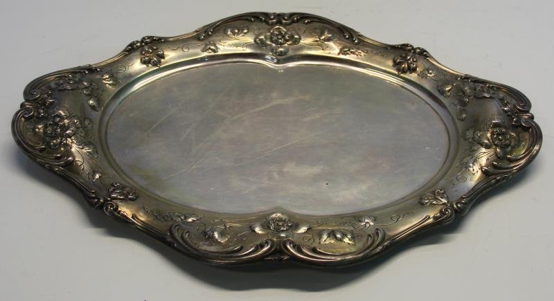 STERLING. Reed & Barton Floral Decorated Oval