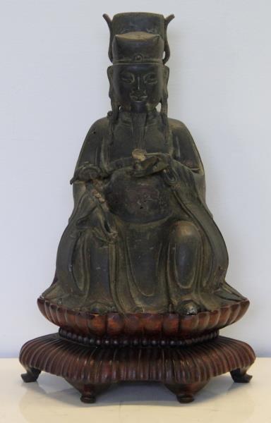 Seated Bronze Deity on Carved Custom Base.