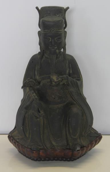 Seated Bronze Deity on Carved Custom Base. - 2