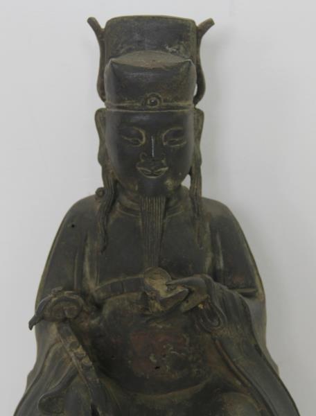 Seated Bronze Deity on Carved Custom Base. - 3