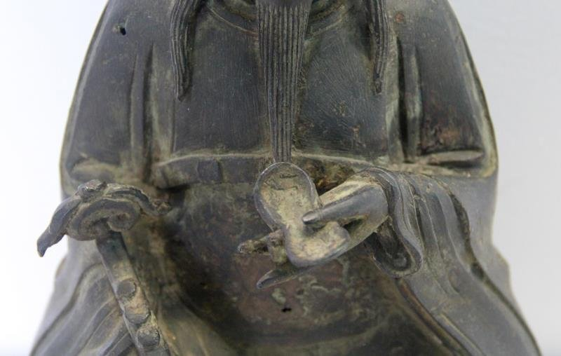 Seated Bronze Deity on Carved Custom Base. - 5