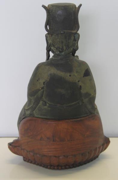 Seated Bronze Deity on Carved Custom Base. - 6