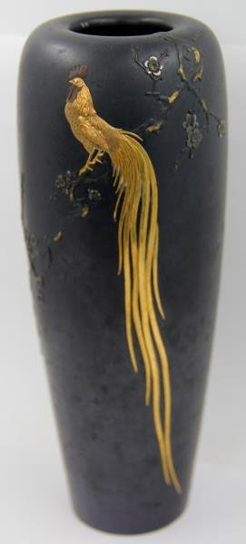 Japanese Bronze Vase with Gilt Rooster. - 2
