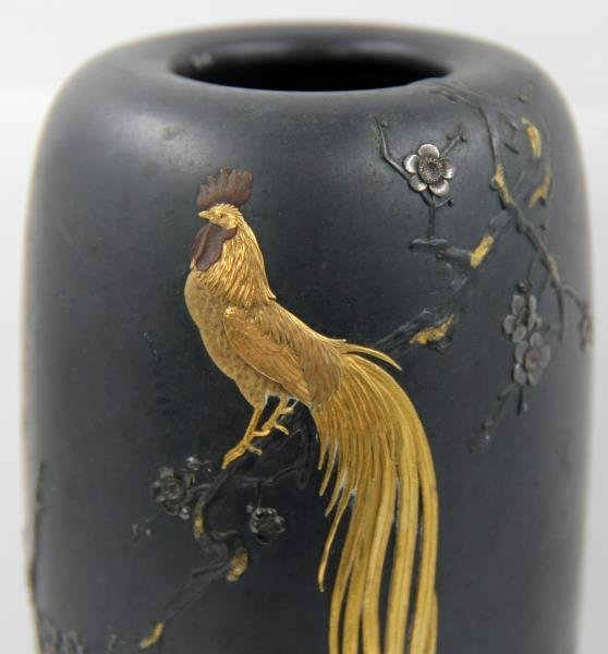 Japanese Bronze Vase with Gilt Rooster. - 3