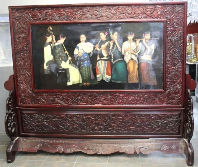 Large And Impressive Asian Painted Glass Screen In