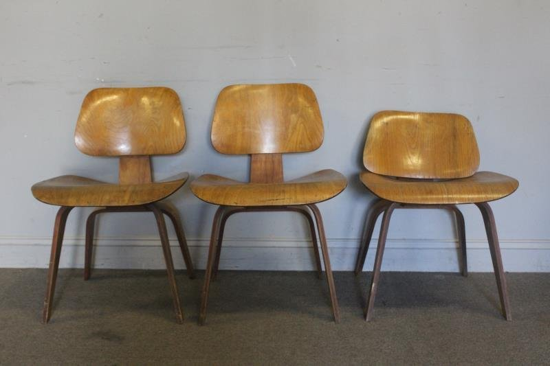Midcentury Set of 3 Eames Molded Side Chairs.