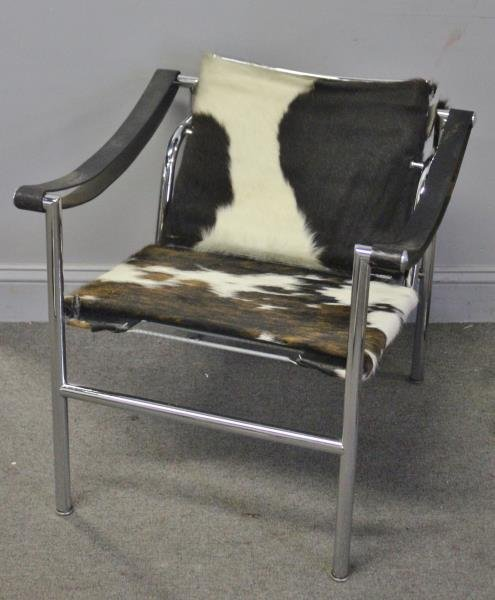 Midcentury Corbusier LC1 Chair with Pony Hair.