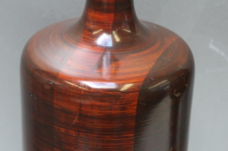 Midcentury Wood Bottle Form Table Lamp. - 2