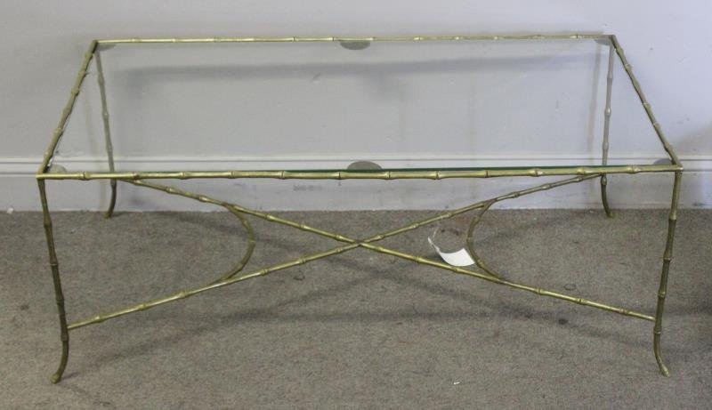 Midcentury Brass Faux Bamboo Coffee Table.