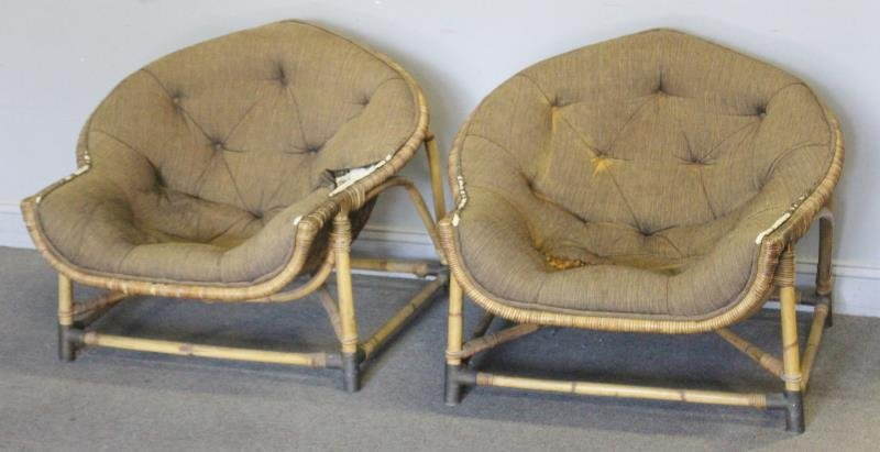 Pair of Unusual Midcentury Bamboo Lounge Chairs.