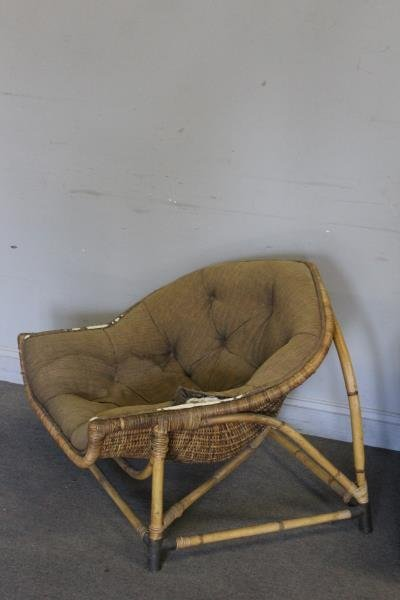 Pair of Unusual Midcentury Bamboo Lounge Chairs. - 2