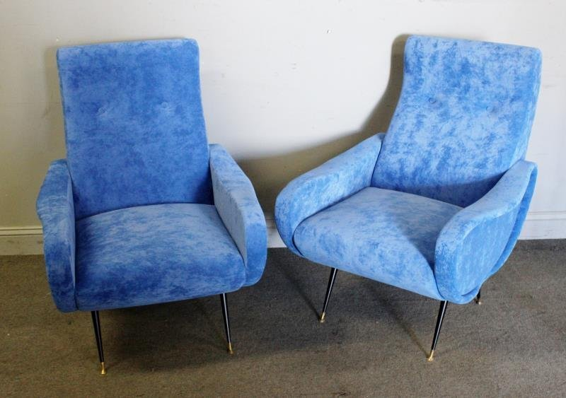 Pair of Italian Marco Zanuso Style Lounge Chairs.