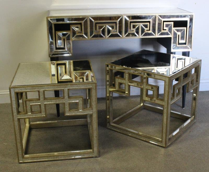 Modern Mirrored Greek Key Design Table Lot.