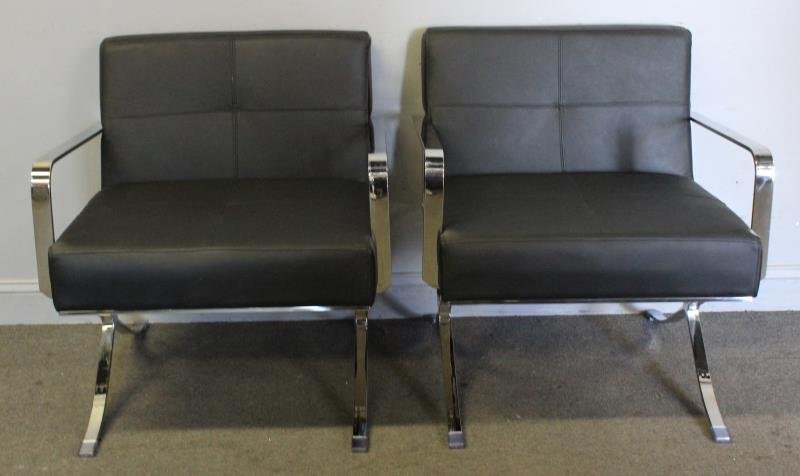 Pair of Midcentury Style Leather and Chrome Chairs
