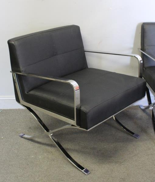 Pair of Midcentury Style Leather and Chrome Chairs - 2