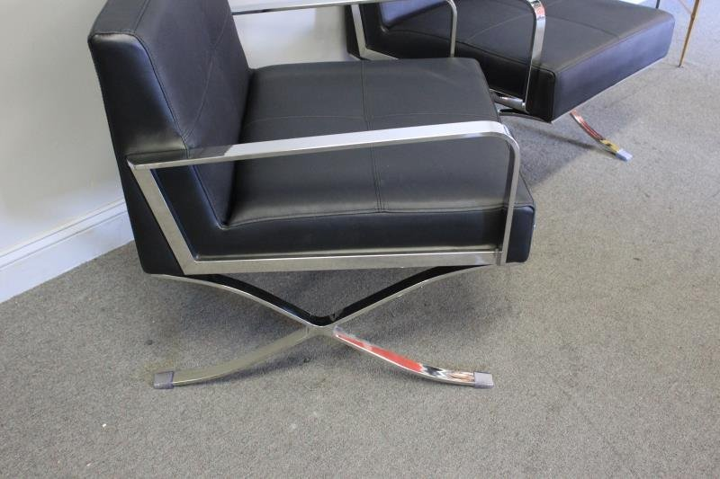 Pair of Midcentury Style Leather and Chrome Chairs - 3
