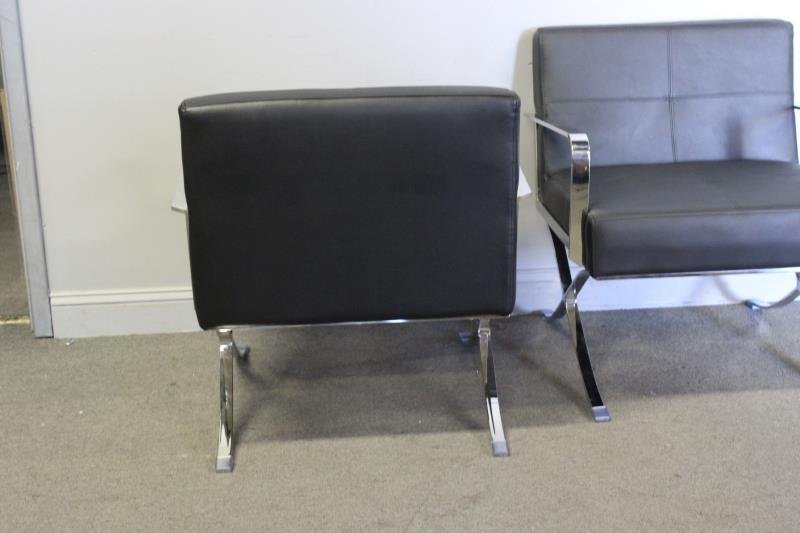 Pair of Midcentury Style Leather and Chrome Chairs - 4