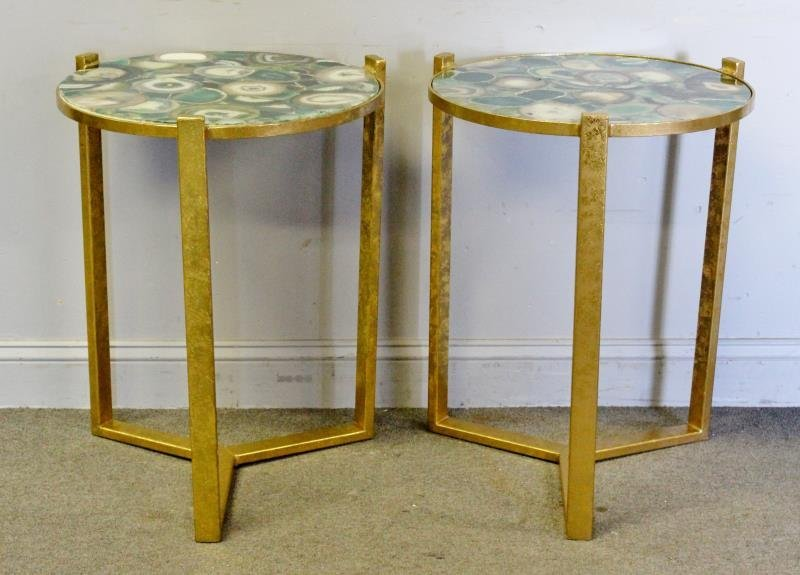 Pair of Gilt End Tables with Agate Tops.