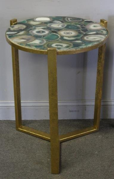 Pair of Gilt End Tables with Agate Tops. - 2
