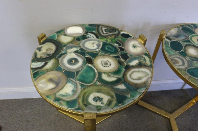 Pair of Gilt End Tables with Agate Tops. - 3