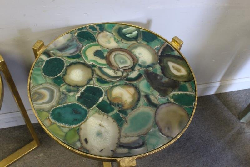 Pair of Gilt End Tables with Agate Tops. - 4