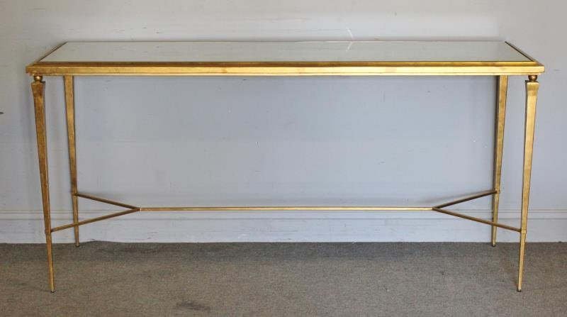Modern Decorator Gilt and Mirrored Top Console.