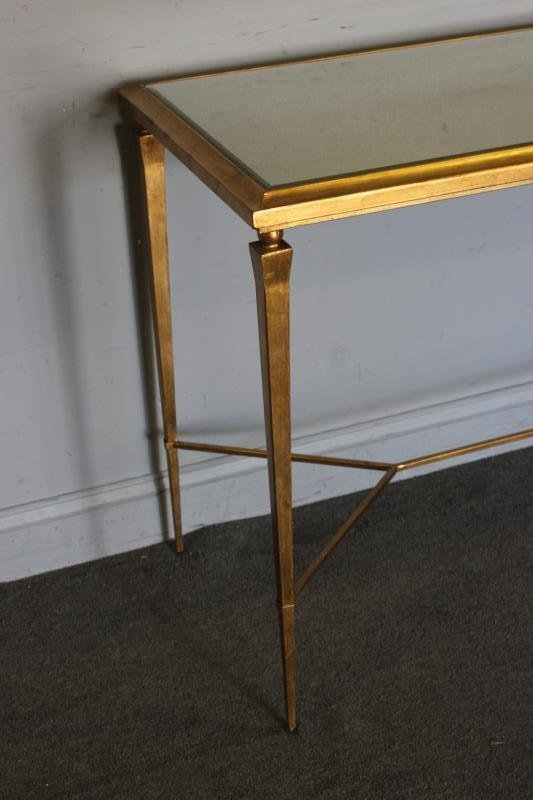 Modern Decorator Gilt and Mirrored Top Console. - 2