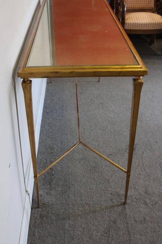 Modern Decorator Gilt and Mirrored Top Console. - 3